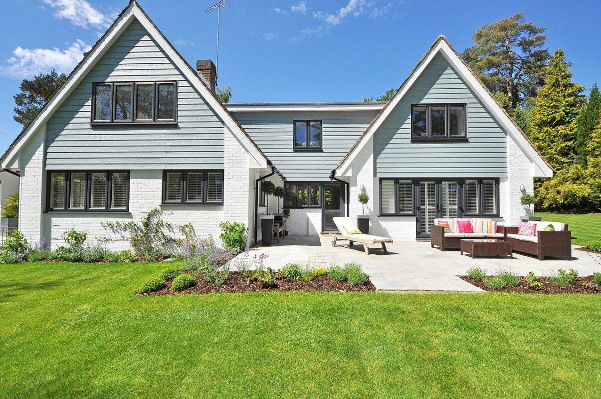 new england style house, luxury property, plantation shutters